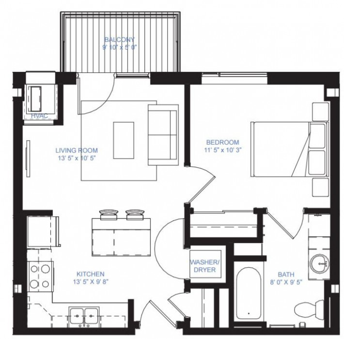 One Bedroom A-2B