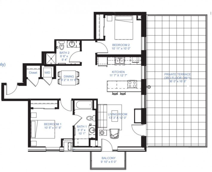 Two Bedroom B-1A